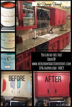 Kitchen cabinet makeover using Heirloom Tradition's Chalk Paint in red Peppery. Painted Cabinets by Tracey's Fancy. DIY Cabinets