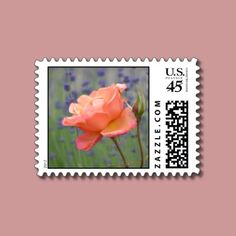Romantic Lavender and Rose Postage by joacreations
