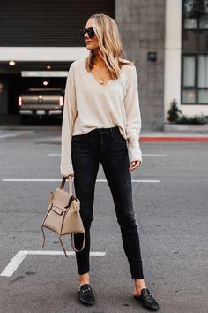 6b9a1d0f115 Blonde Woman Wearing Beige Sweater Black Skinny Jeans Gucci Princetown  Black Mules Celine Mini Belt Bag