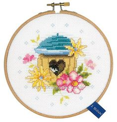 Buy Bird House with Hoop Cross Stitch Kit Online at www.sewandso.co.uk