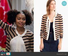 Zoey's beige striped tie-neck cardigan on Black-ish.  Outfit Details: https://wornontv.net/70085/ #Blackish