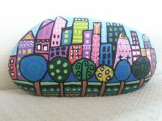 Stone#painting#rock#taş#boyama#handpainting#city#trees