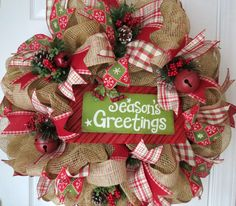 Christmas Deco Mesh Wreath Holiday Mesh by FestivalofWreaths, $105.00
