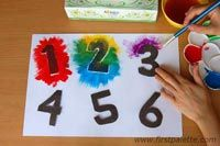 Learning numbers can be fun with this number stencils painting activity. You can use the same technique to paint numbers onto your craft projects. Math Activities For Kids, Fun Crafts For Kids, Toddler Crafts, Number Activities, Numbers Preschool, Preschool Crafts, January Art, January Crafts, New Year's Eve Crafts