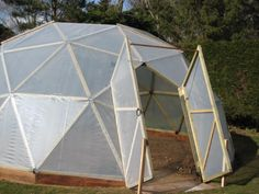 Doors on a geodesic dome - could be useful for more permanent shelters, but a fabric flap for a tent would be fine.