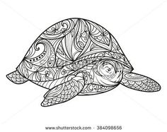 Turtle coloring book for adults vector illustration. Anti-stress coloring for adult. Zentangle style. Black and white lines. Lace pattern