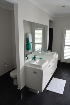 Nicole from the Brisbane area shares photos of her brand new Mornington acreage home (now called the Bronte). This is the beautiful Ensuite of her home. Discover Nicole's story at http://mcdonaldjoneshomes.com.au/about/latest-news/news/tranquil-qld-bushland-inspired-couples-journey. #newhome #ensuite #bathroom