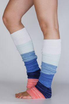 Beachy Keen Knit Leg Warmers OMBRE Rainbow Color by ThreeBirdNest