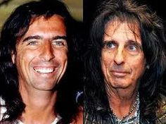Vincent Damon Furnier (Alice Cooper) Then and Now Alice Cooper, Celebrities Then And Now, Young Celebrities, Celebs, Star Wars, We Will Rock You, Stars Then And Now, Rock Legends, Keith Richards