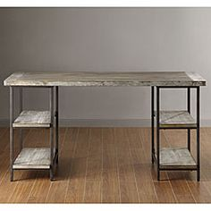 MAKE IT YOURSELF: Renate Wood/ Metal Office Desk w/ 2 file cabinets/night stands & wood slab