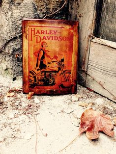 Harley Davidson Vintage Motorcycle and Woman Wooden Picture Wall Decor Home Decor