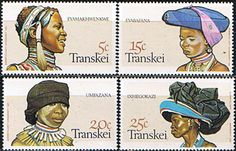 Transkei 1981 Xhosa Women s Headdresses Set Fine Mint SG 92 5 Scott 87 90 Other African and British Commonwealth Stamps HERE! Xhosa Attire, Stamp World, Remember The Time, Paper Fashion, African Tribes, Love Stamps, African History, African Beauty, Stamp Collecting