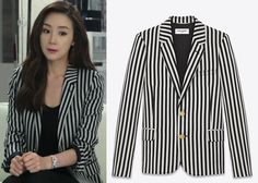 "Choi Ji-Woo 최지우 in ""Temptation"" Episode 10. Saint Laurent Classic Jacket in Black and White Striped Wool #Kdrama #Temptation 유혹 #ChoiJiWoo"