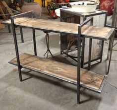 Industrial modern reclaimed wood and steel bookcase , via Etsy. ( love the look of this!)