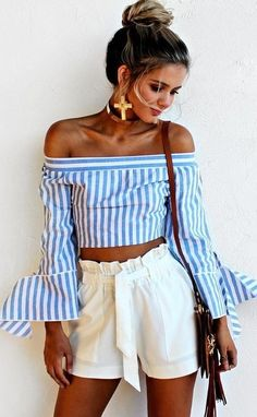 #summer #trends #outfits   Stripe Off The Shoulder Top + White Shorts