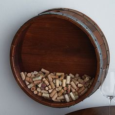 Buy the Personalized Reclaimed Wine Barrel Head Cork Collectors Display (Initial, Name, and Year Script) at Wine Enthusiast – we are your ultimate destination for wine storage, wine accessories, gifts and more! Wine Cork Holder, Wine Barrel Furniture, Wine Cork Crafts, Expensive Wine, Wine Decor, Wine Storage, Wine Gifts, Wine Tasting, Wine Delivery