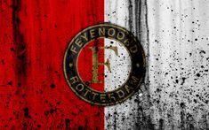 Download wallpapers FC Feyenoord, 4k, Eredivisie, grunge, logo, soccer, football club, Netherlands, Feyenoord, art, stone texture, Feyenoord FC