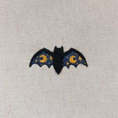 🌙🦇✨ #INKTOBER x #STITCHTOBER DAY 17 ⭐️ #bat #vampire #wings #moon #star #wicca #xeniarybina #magic #magick #samhain #halloween #witchcraft #occult #embroidery #sewing #stitching #needlework #thread #canvas #art #artwork Embroidery Letters, Shirt Embroidery, Cross Stitch Embroidery, Star Stitch, Cross Stitch Moon, Sewing Stitches, Crochet Stitches, Halloween Embroidery, Fabric Yarn