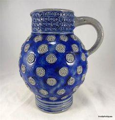 Antique German Stoneware Westerwald Cobalt Salt Glaze Bulbous Jug