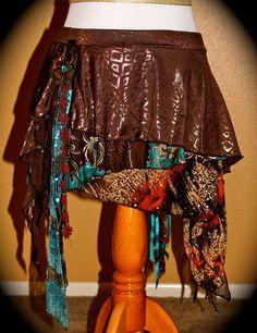 Tribal fusion whimsical skirt L. $55.00, via Etsy.