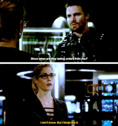 """""""Since when are they taking orders from you?"""" - Oliver and Felicity #Arrow"""