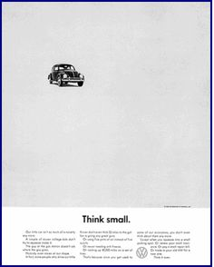 VolksWagen campaign, Think Small, 1959  by W. Bernabach