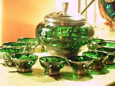 Vintage covered Punch Bowl w/silver deposit decoration. Punch Bowl Set, Crystal Wine Glasses, Vintage Green Glass, Antique Glassware, Bowl Designs, Fenton Glass, Carnival Glass, Colored Glass, Glass Art