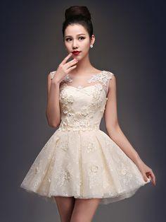 Cocktail Party Dress - Champagne Plus Sizes Princess Scoop Short/Mini Satin / Tulle - USD $44.99