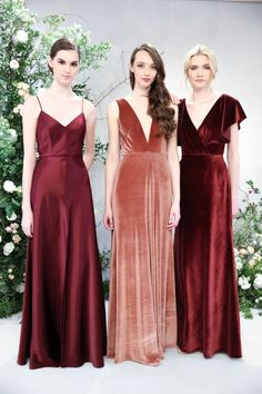 Wedding Trends The 2019 Bridesmaid Dress Trends- velvet bridesmaid dresses - burgundy bridesmaid dresses by Jenny Yoo {Dan Lecca} - From Nostalgia Rose to velvet gowns to shoulder ties, these are the new 2019 bridesmaid dresses and trends. Winter Bridesmaid Dresses, Winter Bridesmaids, Velvet Bridesmaid Dresses, Velvet Dresses, Bridesmaid Outfit, Velvet Wedding Dresses, Mismatched Bridesmaid Dresses, Wedding Trends, Trendy Wedding