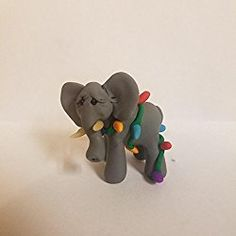 Elephant Christmas Ornament Tangled in Christmas Lights Hand Made Polymer Clay