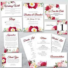 Pink Peony Pop Wedding Stationary Invitations Set PRINTABLE Pink Peonies, Peony, Drink List, Invitation Set, Wedding Stationary, Save The Date, Etsy Store, Printable, Handmade Gifts