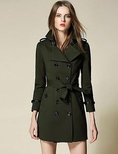 5ce3f42e910 Burdully Women s Trench Coat - Solid Colored Shirt Collar