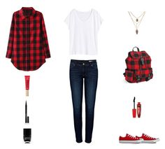 """Contest: Black, White & Red Plaid Outfit"" by billsacred ❤ liked on Polyvore featuring H&M, Converse, Anine Bing, Aéropostale, Rimmel, Elizabeth Arden and Nails Inc."
