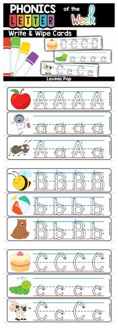 Alphabet Write and Wipe Cards. Slip the pages into plastic sleeves and use with an erasable marker for an instant fun and engaging center activity!