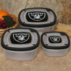 #UltimateTailgate #Fanatics Oakland Raiders 3-Pack Square Food Containers