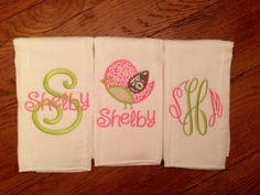 Baby girl monogram burpcloths/Personalized by BabyCheeksBoutiques