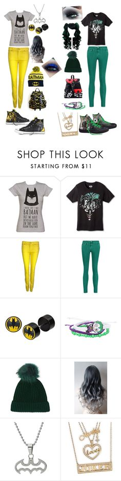 """""""Batman vs The Joker"""" by anime-band-kid ❤ liked on Polyvore featuring 7 For All Mankind, Acne Studios, Converse and Topshop"""