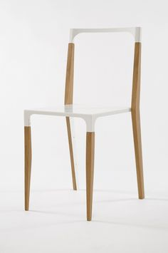 Minimalist Chair, White And Wood, Clean Lines, Uncluttered
