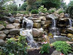 47 Diy Garden Pond Waterfall Ideas - Home/Decor/Diy/Design Backyard Water Feature, Ponds Backyard, Garden Ponds, Garden Fountains, Backyard Ideas, Pond Landscaping, Landscaping With Rocks, Waterfall Landscaping, Pond Waterfall