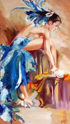 Belly Dancer  Figurative painting Fine Art by ArtonlineGallery, $97.00