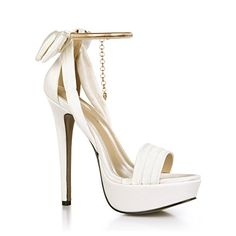 Best 4U® Frauen Sommer Sandalen Faux Silk Basic Pumps Peep Toe Bogen  Anhänger Kette 14 CM High Heels 3 CM Plattform Gummisohle Hochzeit Schuhe   ... d01e5c0bee
