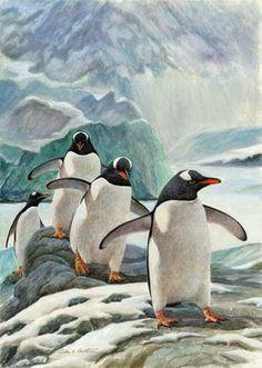 John A. Ruthven Penguins on Parade  Original Watercolor
