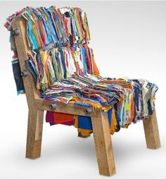 Chair........ #TextileWaste #UsedClothing #Thrift #Renew Repair #Upcycle #Recycle #DIY #GreenLiving #Handmade #Craft #DIY Scrap Fabric Projects, Fabric Scraps, Design Competitions, Recycled Fabric, Upcycled Textiles, Take A Seat, Cool Chairs, Sofa Chair, Design Awards