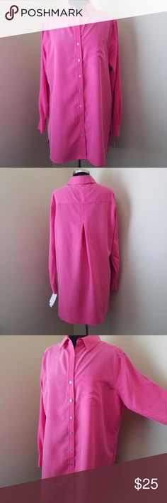 """NWT Foxcroft Pink Long-Sleeve, Button Blouse, 14W NWT Beautiful, soft, pink, long-sleeve, button-down blouse with one left breast pocket, wrinkle free with two back darts for a better fit.   Long enough to comfortably wear over a pair of tights.   70% modal, 30% polyester.   19"""" sleeve, 50"""" bust, 32"""" length  Size 14W by Foxcraft. Foxcroft Tops Button Down Shirts"""