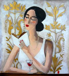 La jolie lectrice by Marie Godest born March 15, 1971, France living in Melrand, France