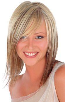 Carré Plongeant Blond Mi Long Coiffure Modèle Style pour