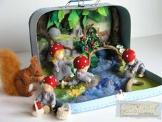 This suitcase set is based on a children story book written and illustrated by Elsa Beskow - Children of the forest / made by Lalinda.pl