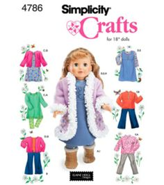 Simplicity Pattern 4786-18'' Doll Clothes-One Size