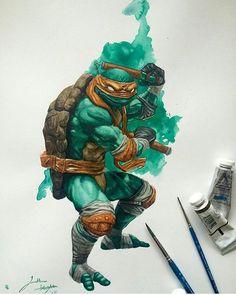 Michelangelo watercolours by Jonathan Knight (JD Knight) Ninja Turtles Art, Teenage Mutant Ninja Turtles, Michelangelo, Comic Books Art, Comic Art, Ninja Turtle Tattoos, Tmnt Mikey, Martial, Anime