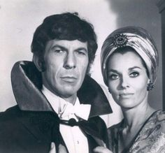 Leonard Nimoy as magician and Lee Meriwether, Miss America 1955, as guest in Mission Impossible